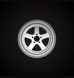 realistic alloy wheel on black vector image
