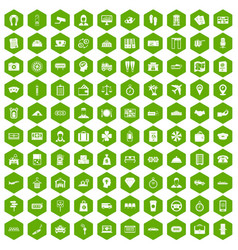 100 paying money icons hexagon green vector image