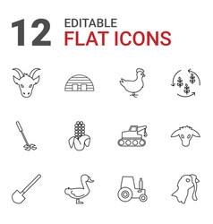 12 farm icons vector