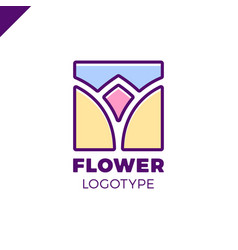 abstract flower tulip logo in square icon design vector image