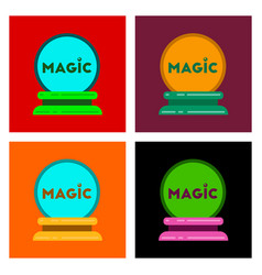 Assembly flat icons magic ball vector