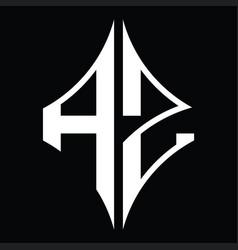 Az logo monogram with diamond shape design vector