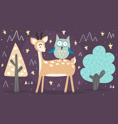 banner with cute deer and owl best friends vector image