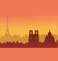 Beauty landscape paris city skyline silhouette vector