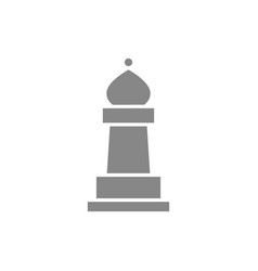 bishop chess gray icon board game table vector image