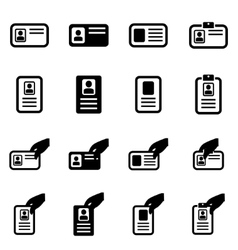 Black id card icon set vector