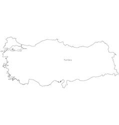 Black White Turkey Outline Map vector image