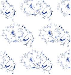 Blue Bird walking pattern vector