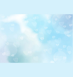 blue watercolor blurred heart bokeh background vector image