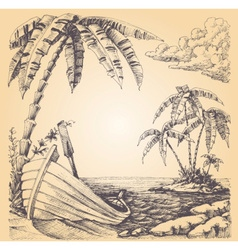 Boat on sea shore tropical island and palm tree vector image