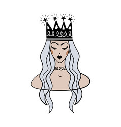 boho tattoo with blue hair queen and crown vector image