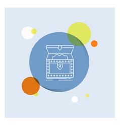 Box chest gold reward treasure white line icon vector