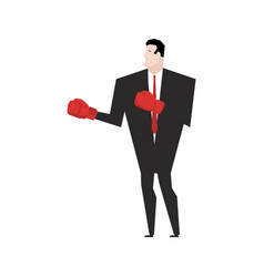 Business fight businessman with boxing gloves vector