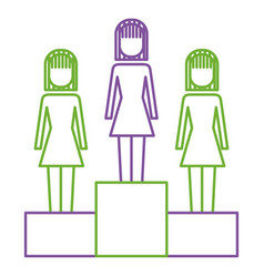 businesswomen in podium competition success vector image