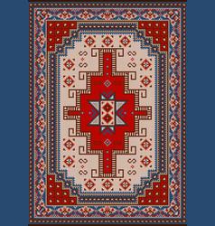 Carpet with red blue beige and brown shades vector