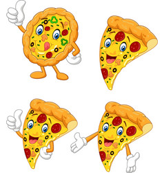 cartoon funny pizza collection set vector image