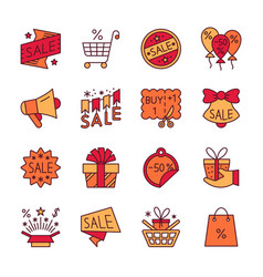 Clearance sale line icon set editable stroke vector