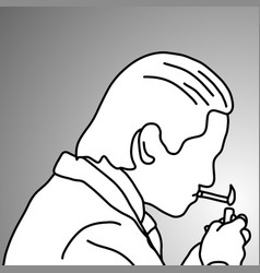 close-up businessman lighting up his cigarette vector image