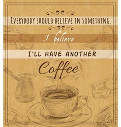 Coffee set retro poster vector