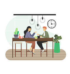 coffee shop happy man and woman drinking vector image