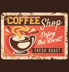 Coffee shop rusty metal plate steaming cup vector