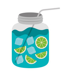 Color silhouette with bottle of natural citrus vector