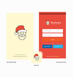 company santa clause splash screen and login page vector image