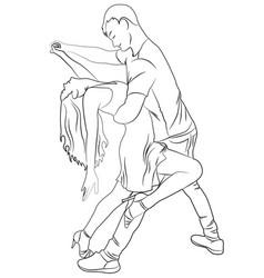 Contour guy and girl dance latina vector