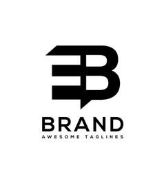 creative letter eb logo design black and white vector image