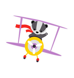 Cute badger animal with fluttering scarf flying vector