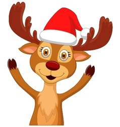 Cute cartoon deer waving vector image