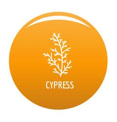 cypress leaf icon orange vector image