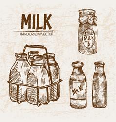 Digital detailed line art fresh milk vector