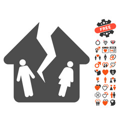 Divorce house icon with dating bonus vector