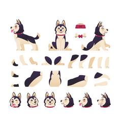 Dog animation cute cartoon pet motion set vector