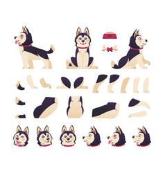 dog animation cute cartoon pet motion set with vector image