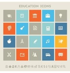 Educational icon set multicolored square flat vector