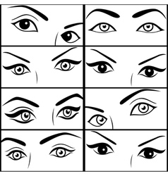 Eight pairs of female eyes vector