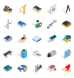 Fabric icons set isometric style vector