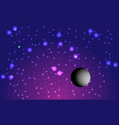 Fantastic lilac cosmic background and planet vector
