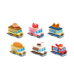 flat set food trucks cars with burger vector image