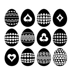 Gambling and geometric symbols on easter eggs vector