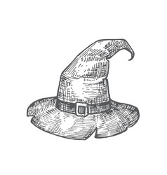 Hand drawn halloween witch hat vector