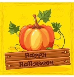 Happy Halloween Autumn Orange Pumpkin Vegetable vector image