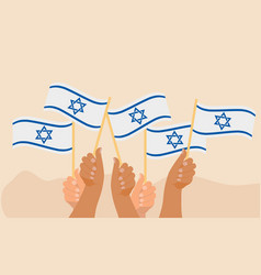 Happy israel independence day banner hands hold vector