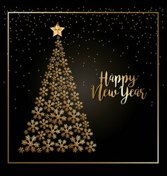 happy new year golden elegance tree star and vector image