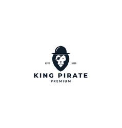 Head lion face as pirate hat logo design vector