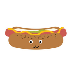 hot dog fast food cute kawaii cartoon vector image
