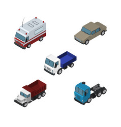 Isometric car set of lorry auto freight and vector