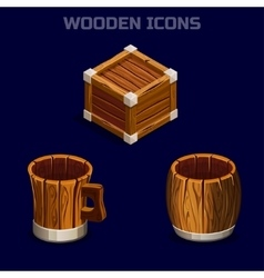 isometric cartoon wooden icons for game vector image